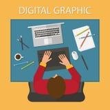 Werkplaats, digitaal illustratieproces Laptop Stock Fotografie