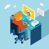 werkplaats Het werken bij computer Vlakke 3d isometrisch Royalty-vrije Stock Afbeelding
