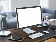Werkplaats met computer en het lege scherm het 3d teruggeven Stock Foto