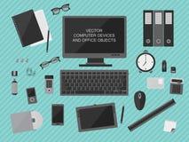 Werkplaats met computerapparaten Royalty-vrije Stock Afbeelding