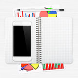 Werkplaats met digitale tablet Stock Foto's