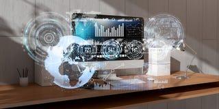 Werkplaats met het moderne apparaten en van de hologramschermen 3D teruggeven Royalty-vrije Stock Fotografie