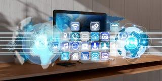 Werkplaats met het moderne apparaten en van de hologramschermen 3D teruggeven Stock Afbeelding