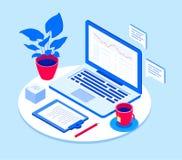 Werkplaats met laptop - moderne vector isometrische illustratie royalty-vrije illustratie