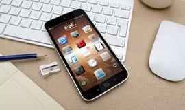Werkplaats met mobiele telefoon Stock Afbeelding