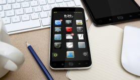 Werkplaats met mobiele telefoon Stock Fotografie