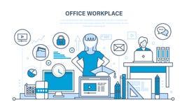 Werkplaatsorganisatie en werkschema, hulpmiddelen voor de baan, taak het plannen vector illustratie