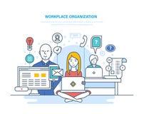 Werkplaatsorganisatie Samenwerking, vennootschappen, groepswerk, binnenlandse bureauruimte, het coworking, samenwerking vector illustratie
