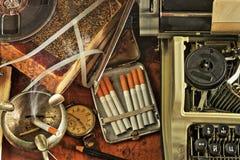 Werkplaatsschrijver van het verleden in een retro stijl Stock Afbeelding