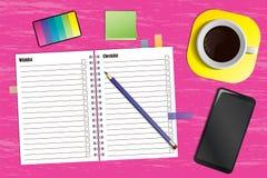Werkruimte met een ontwerper en een kop van koffie vector illustratie