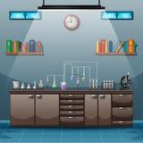 Werkruimte met lijsthoogtepunt van instrumenten voor wetenschappelijk experiment stock illustratie