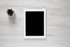 Werkruimte met tablet, luchtmening Hoogste mening, van hierboven stock afbeeldingen