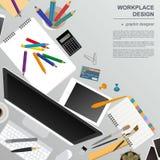 Werkruimte van de grafische ontwerper Spot omhoog voor uw creëren  royalty-vrije illustratie