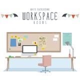 Werkruimte (Witte Achtergrond) Stock Afbeeldingen