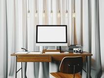 Werkruimte in zolder met generische ontwerpcomputer 3d geef terug Stock Afbeelding