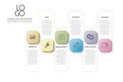 Werkschema, jaarverslag, chronologie, infographics stock afbeelding