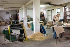 Werkstatt des Tischlers. Stockbild