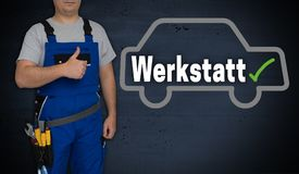 Werkstatt in german Workshop car and craftsman with thumbs up Stock Images