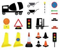 20 de weg werkt pictogrammen en tekens Stock Foto's