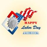 Werktag, Computergrafikdesign mit Zahnradsymbol und Quadrate auf amerikanischen Staatsflaggefarben Lizenzfreies Stockbild