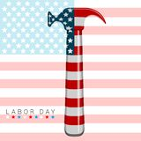 Werktagsfahne mit einem Hammer und einer Flagge von vereinigt Zustände stock abbildung