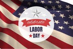 Werktagstext über US-Flagge stock abbildung
