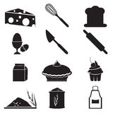 Werktuig en voedselpictogramreeks Stock Afbeeldingen