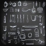 Werktuigen en getrokken voedselhand Royalty-vrije Stock Afbeelding