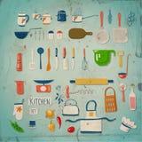 Werktuigen en getrokken voedselhand Stock Afbeelding