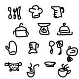 Werktuigen en getrokken voedselhand Illustratie Royalty-vrije Stock Afbeeldingen