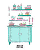 Werktuigen en getrokken voedselhand Ontwerpelementen van keuken Stock Fotografie