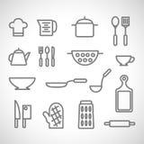 Werktuigen en getrokken voedselhand Op witte achtergrond Royalty-vrije Stock Foto's