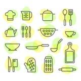 Werktuigen en getrokken voedselhand Op witte achtergrond Royalty-vrije Stock Fotografie