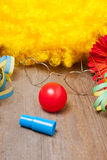 Werktuigen van een clownkostuum Royalty-vrije Stock Foto's