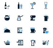 Werktuigen voor geplaatste drankenpictogrammen Stock Foto's