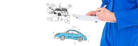 Werktuigkundige met schets van de tekening van de auto'shand royalty-vrije stock afbeelding