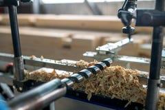 Werktuigmachine voor houtbewerking Close-up van boor stock foto