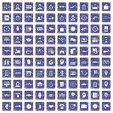 100 werkuren pictogrammen geplaatst grunge saffier Royalty-vrije Stock Foto