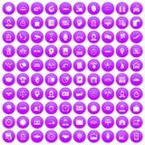 100 werkuren pictogrammen geplaatst purper Stock Afbeelding