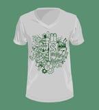 Werkverslaafdenconcept op t-shirt Stock Afbeeldingen