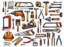 Werkzeug für Bau- und Reparaturarbeitsskizze vektor abbildung