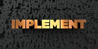 Werkzeug - Goldtext auf schwarzem Hintergrund - 3D übertrug freies Bild der Abgabe auf Lager lizenzfreie abbildung