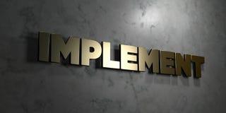 Werkzeug - Goldzeichen angebracht an der glatten Marmorwand - 3D übertrug freie Illustration der Abgabe auf Lager vektor abbildung