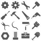Werkzeug-Ikonen eingestellter Vektor stockbilder