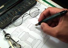 Werkzeuge der technischen Konstruktionszeichnung lizenzfreie stockfotografie