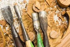 Werkzeuge des Woodcarver Lizenzfreie Stockbilder