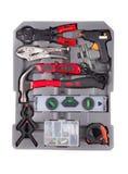 Werkzeuge in einem grauen Werkzeugkasten Lizenzfreie Stockbilder