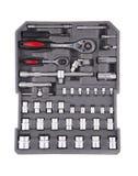 Werkzeuge in einem grauen Werkzeugkasten Lizenzfreie Stockfotos