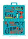 Werkzeuge in einem Werkzeugkasten Stockfoto