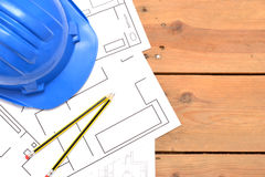 Werkzeuge für Bauzeichnungen Stockbild